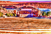 Open Air Theater Posters - Red Rock Amphitheater Poster by Barry Jones