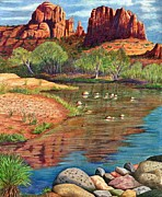 Red Rock Crossing Drawings Prints - Red Rock Crossing-Sedona Print by Marilyn Smith