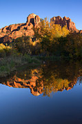 Oak Creek Metal Prints - Red Rock Reflections Metal Print by Mike  Dawson
