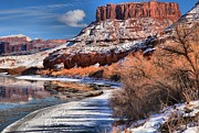 Southern Utah Framed Prints - Red Rock River Landscape Framed Print by Adam Jewell