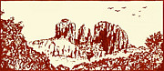 Sedona Drawings Prints - Red  Rock  Sedona Print by Hartmut Jager