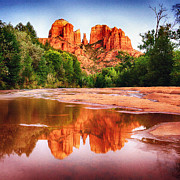 Parks Mixed Media Posters - Red Rock State Park - Cathedral Rock Poster by Nadine and Bob Johnston