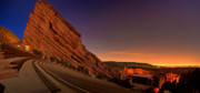 Landscape Glass Framed Prints - Red Rocks Amphitheatre at Night Framed Print by James O Thompson