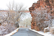 Scenic Drive Metal Prints - Red Rocks Winter Landscape Drive Metal Print by James Bo Insogna