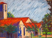 Hazy Pastels Prints - Red Roof Church Print by Katrina West