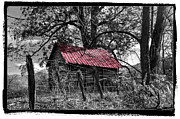 Winter Scenes Rural Scenes Posters - Red Roof Poster by Debra and Dave Vanderlaan