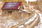 Rural Snow Scenes Framed Prints - Red Roof in the Snow  Framed Print by Debra and Dave Vanderlaan