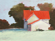 Red Roof Print by Sheila Psaledas