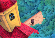 Hall Drawings Prints - Red roof Print by T Koni