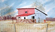 Shed Painting Framed Prints - Red-Roofed Shed Framed Print by Jim Gerkin