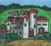Red Roof Mixed Media Prints - Red Roofed Village Print by Barbara Nye