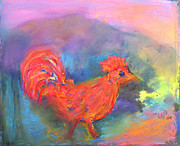 Childrens Room Pastels Framed Prints - Red Rooster by the Sandias Framed Print by  Tolere