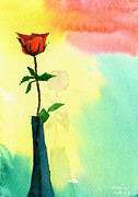 Peaceful Drawings Posters - Red Rose 1 Poster by Anil Nene