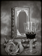 Red Wine Prints Posters - Red Rose BW Poster by Mark Llewellyn