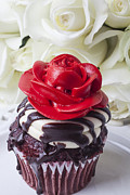 Frosting Photo Framed Prints - Red rose cupcake Framed Print by Garry Gay