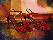 High Heeled Prints - Red Rose High Heel Shoes Print by Bud Anderson