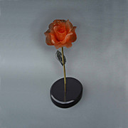 Roses Sculpture Metal Prints - Red Rose Metal Print by Leslie Dycke