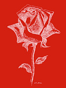Andy Warhol Drawings - Red Rose Paintings 18 by Gordon Punt