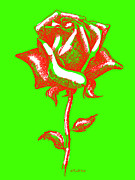 Warhol Drawings Posters - Red Rose Paintings 2 Poster by Gordon Punt