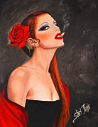 Chin Paintings - Red Rose by Shirl Theis