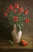 Teapot Paintings - Red roses by Andreja Dujnic