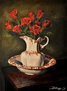 Glass Table Reflection Painting Originals - Red Roses in a Ceramic Pitcher by David Larsen