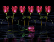 Nights Digital Art Posters - Red Roses In The Moonlight  Poster by Zeana Romanovna