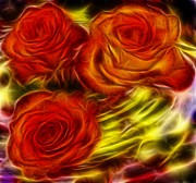 Glow Art - Red Roses in water - Fractal  by Lilia D