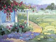 Joyce Hicks - Red Roses over Blue Shutters