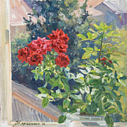 Flowers Painting Originals - Red roses by Victoria Kharchenko