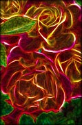 Glass Wall Digital Art - Red Roses with soft glow by Lilia D