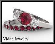 14k Jewelry - Red Ruby And Diamond 14k Eternity Wedding Ring And Engagement Ring Set by Roi Avidar