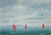 Peter Farrow Metal Prints - Red Sails and Hilbre Island - West Kirby Marine Lake  Metal Print by Peter Farrow