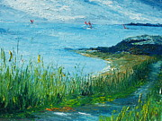Irish Impressionist Painting Framed Prints - Red sails in Galway Bay Framed Print by Conor Murphy