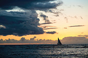 Sailboats In Water Prints - Red Sails in the Sunset Print by Jon Burch Photography