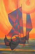 Fishing Enthusiast Art - Red Sails In The Sunset by Tracey Harrington-Simpson