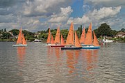 Lowestoft Metal Prints - Red Sails on Oulton Broad Metal Print by Ralph Muir