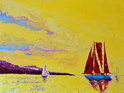 Living Artist Paintings - Red Sails by Patricia Awapara