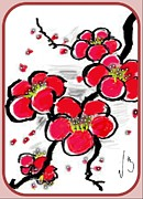 Sakura Digital Art Prints - Red Sakura Print by Mona  Bernhardt-Lorinczi