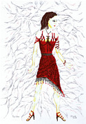 Dancing Girl Drawings Prints - Red Salsa. Print by Kenneth Clarke