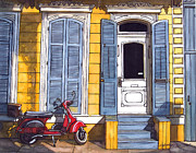 French Door Painting Prints - Red Scooter with Yellow House and Blue Shutters Print by John Boles