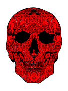 Scull Framed Prints Prints - Red Scull Print by Mauro Celotti