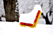Snow Scenes Metal Prints - Red Seat Metal Print by Emily Stauring