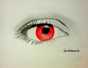 Red Eye Drawings - Red Seeker by Dominick Hambrick