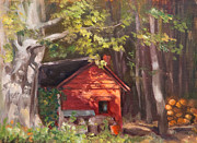 Farm Buildings Painting Originals - Red Shack in the Woods by Marge Casey