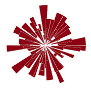 Red Shape Print by Frank Tschakert