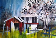 Shed Paintings - Red Shed by Marc L Gagnon