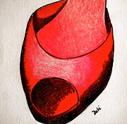 Line Drawing Art - Red Shoe by Debi Pople