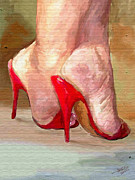 Provocative Digital Art Framed Prints - Red Shoes Framed Print by James Shepherd