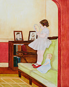 Linoleum Painting Prints - Red Shoes Print by Rachel Engelking